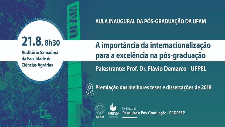 Convite para a Aula Inaugural de todos os Programas de Pós-Graduação da UFAM 2º semestre de 2019